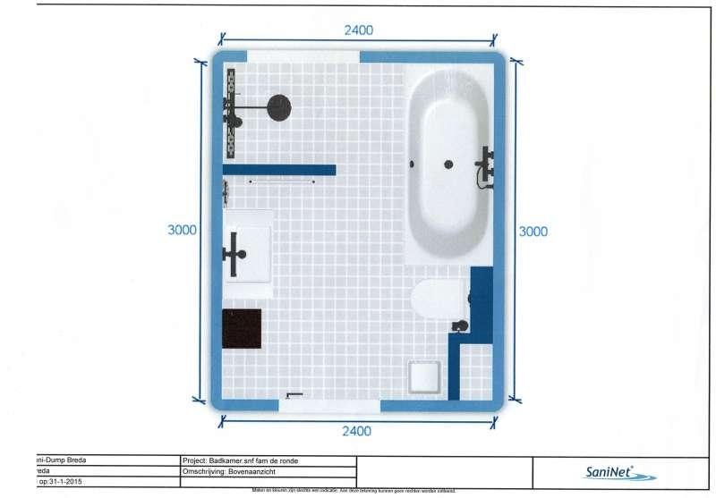 Realiseren badkamer 3x2,40meter (Geertruidenberg)