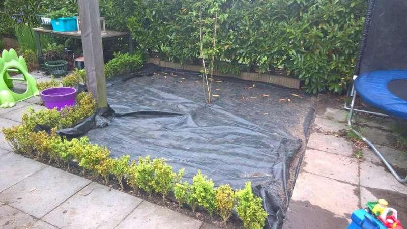 2 vakken in de tuin egaliseren vakomheining maken grind vullen drachten - Tuin grind decoratief ...